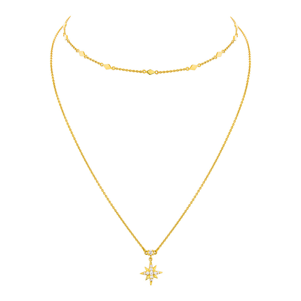 CELESTIAL DOUBLE CHAIN NECKLACE – GOLD