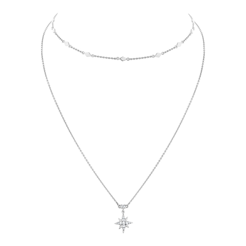 CELESTIAL DOUBLE CHAIN NECKLACE – SILVER