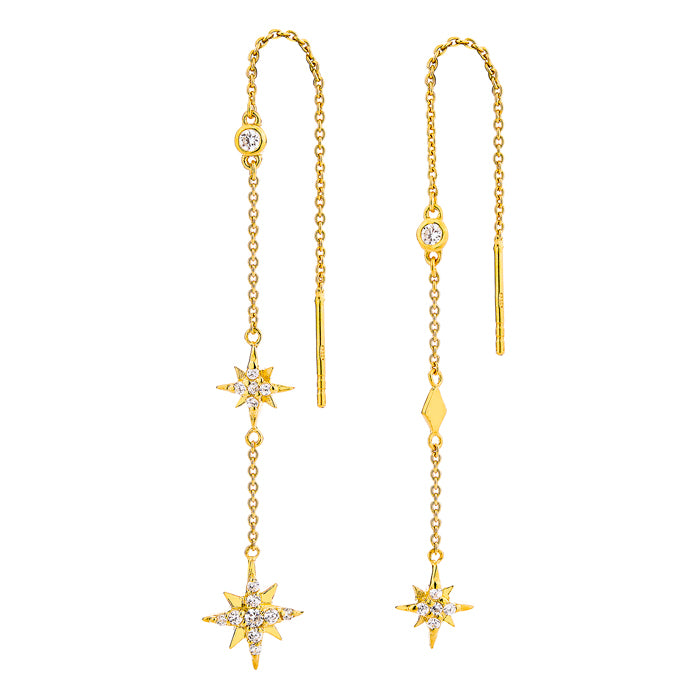 Celestial Chain Earrings - Gold
