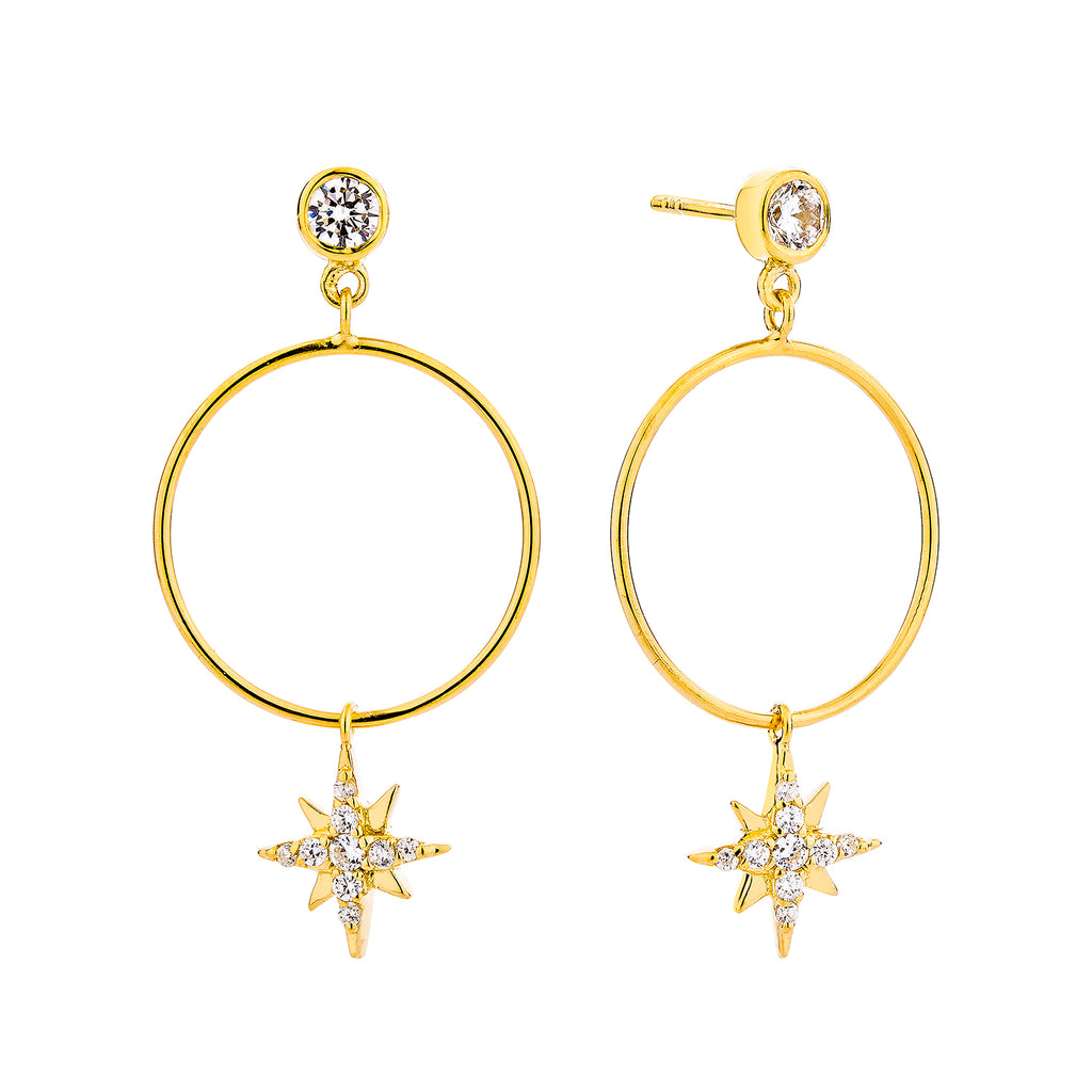 Celestial Drop Hoop Earrings - Gold