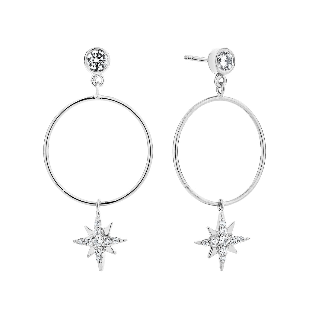 CELESTIAL DROP HOOP EARRINGS – SILVER