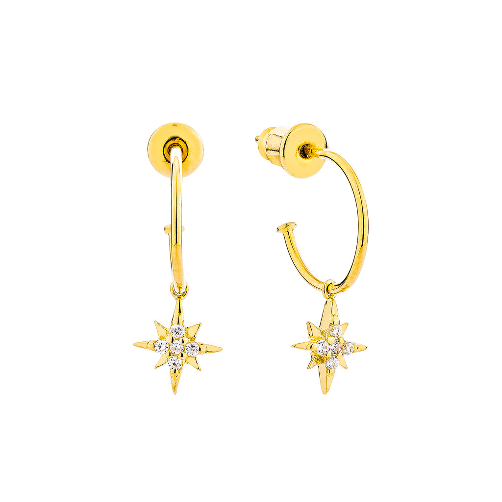 Celestial Mini Hoop Earrings - Gold