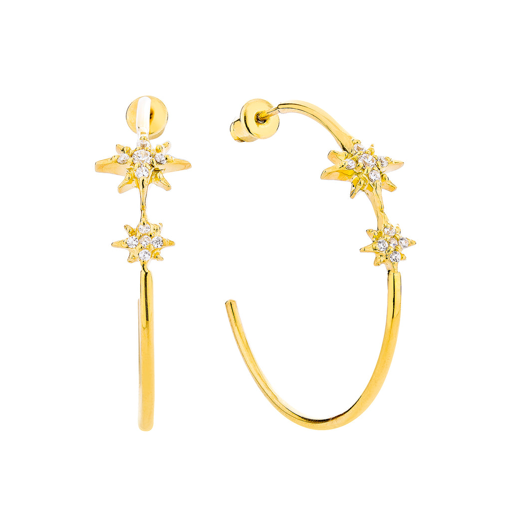Celestial Hoop Earrings - Gold