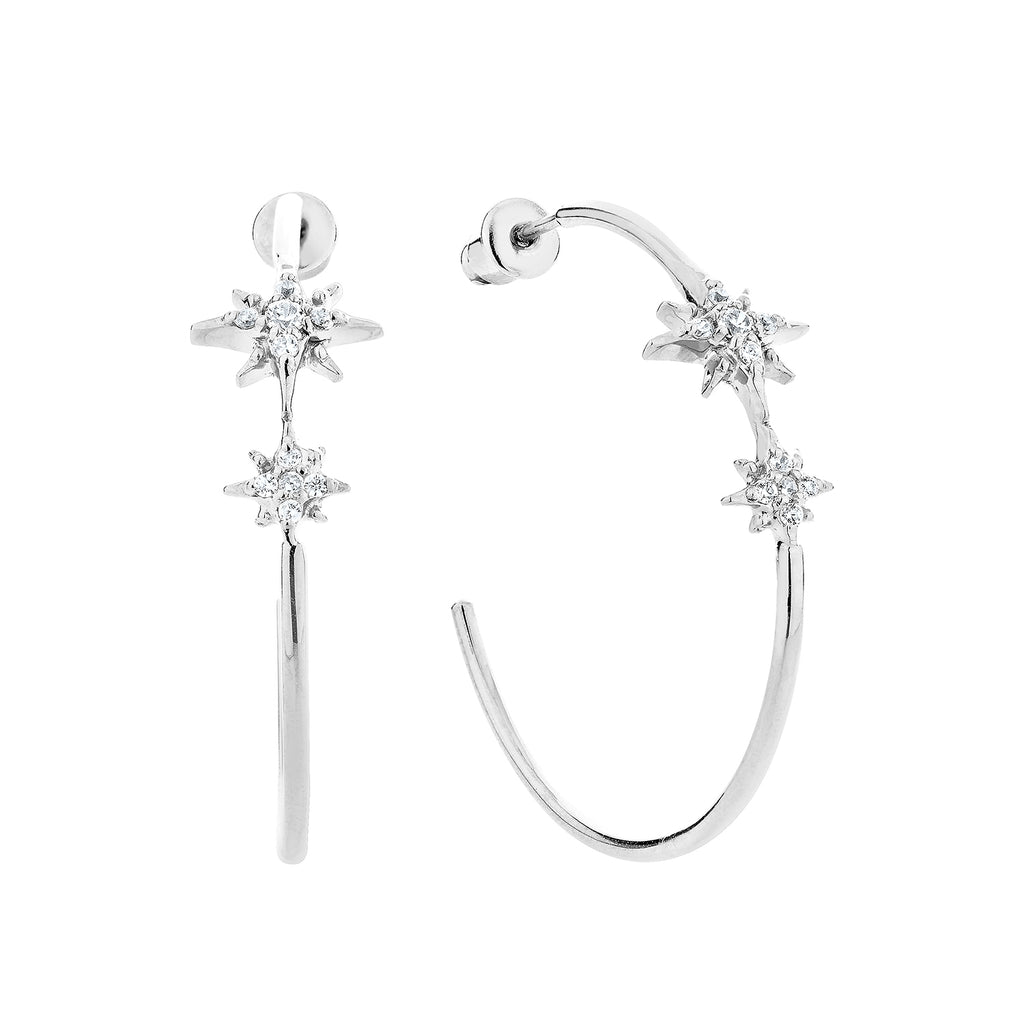 Celestial Hoop Earrings - Silver