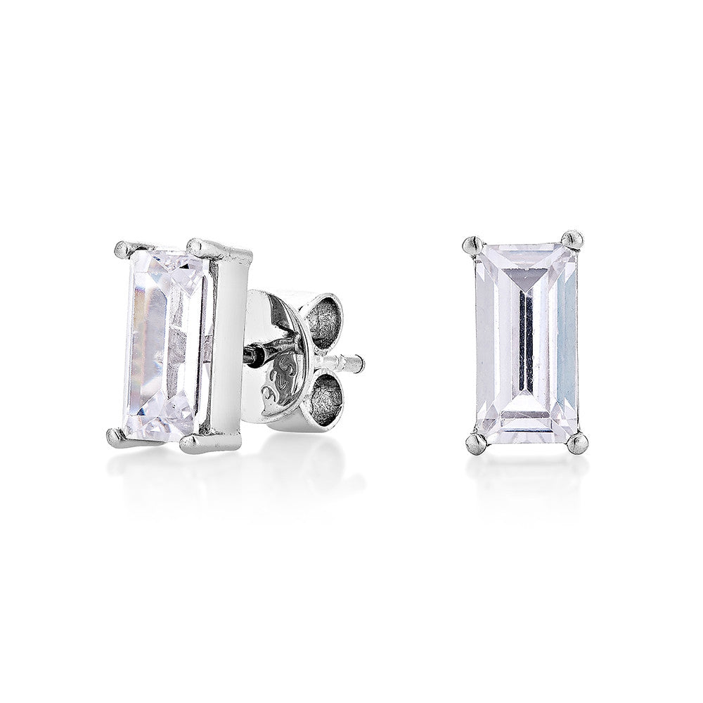 Baguettes Diamond Earrings - Silver