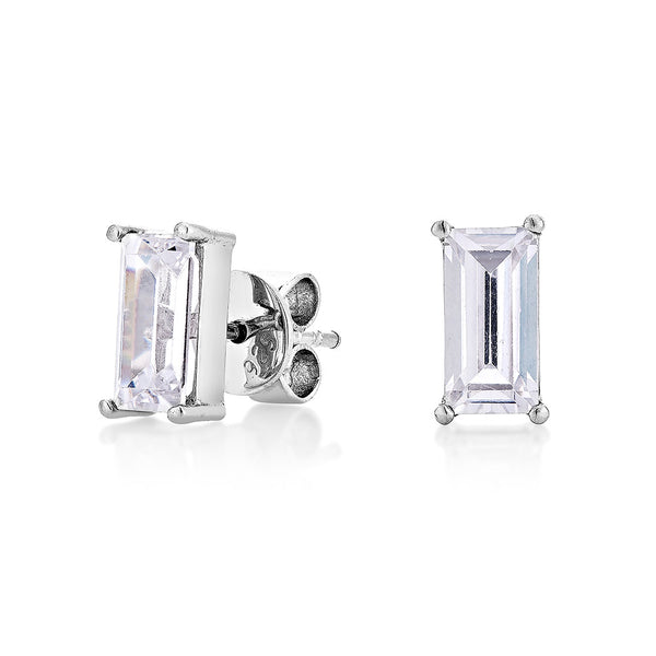 Baguettes Diamond Earring - Silver