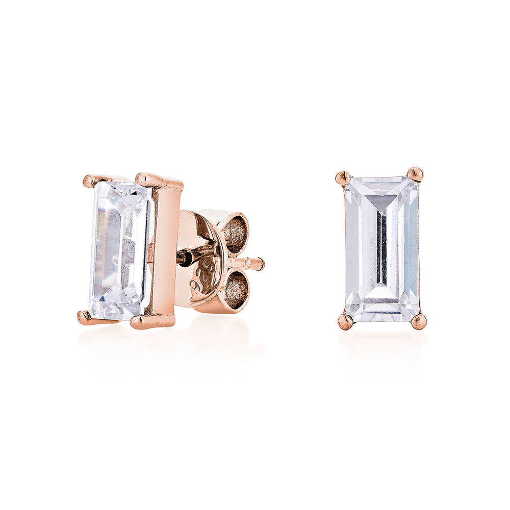 Baguettes Diamond Earrings - Pinkgold