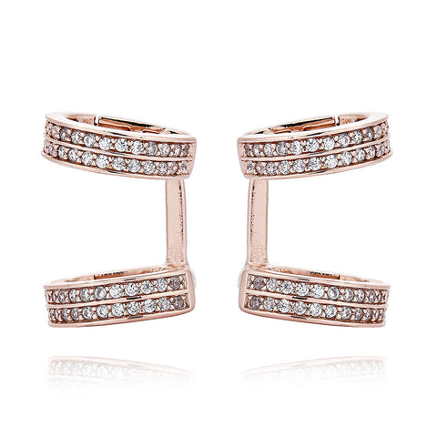 Exquisite 2-hoop earrings - Pinkgold