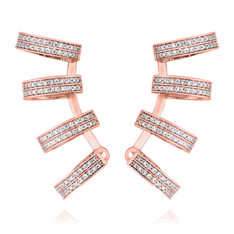Exquisite 4-hoop earrings - Pinkgold