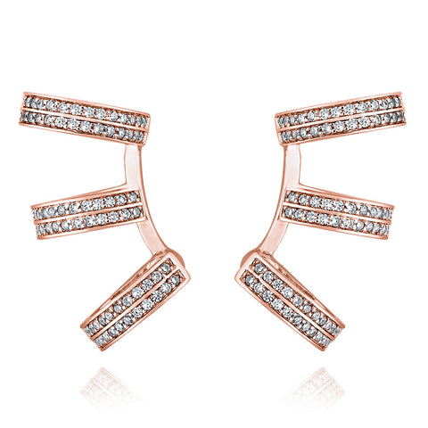 Exquisite 3-hoop earrings - Pinkgold