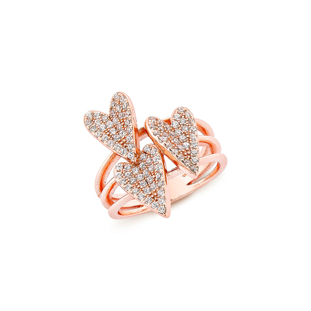 3 Hearts Ring - Pinkgold with White CZ