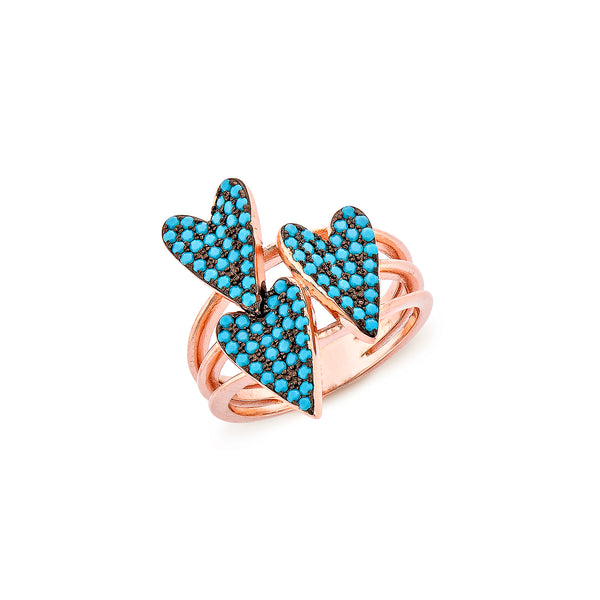 3 Hearts Ring - Pinkgold with Turquoise