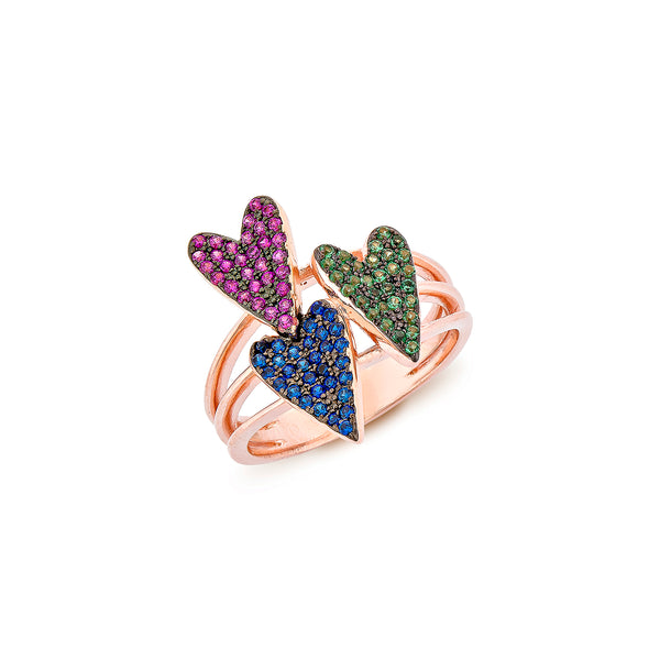 3 Hearts Ring - Pinkgold with Pink CZ, Green CZ, Blue CZ