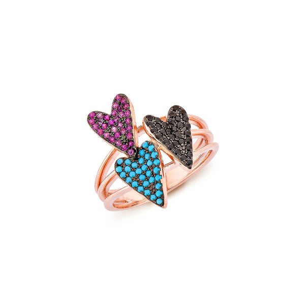 3 Hearts Ring - Pinkgold with Pink CZ, Turquoise, Black CZ