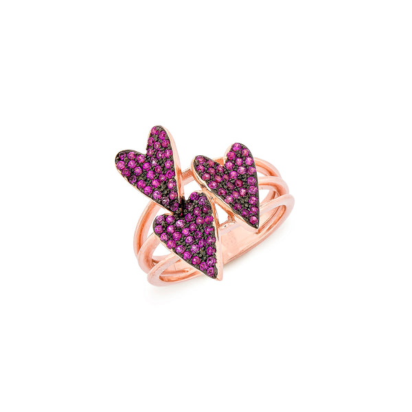 3 Hearts Ring - Pinkgold with Pink CZ