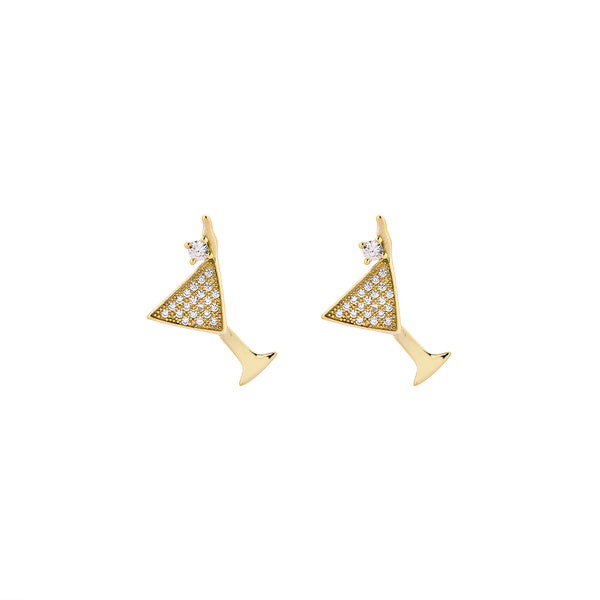 Cocktail Earrings - Gold with White CZ