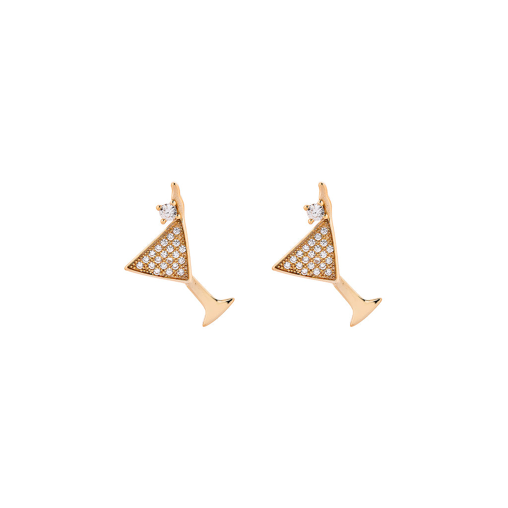 Cocktail Earrings - Pinkgold with White CZ