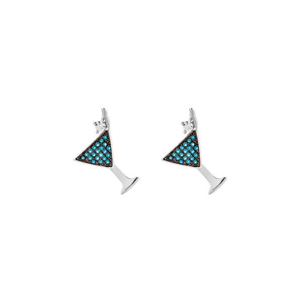 Cocktail Earrings - Silver with Turquoise