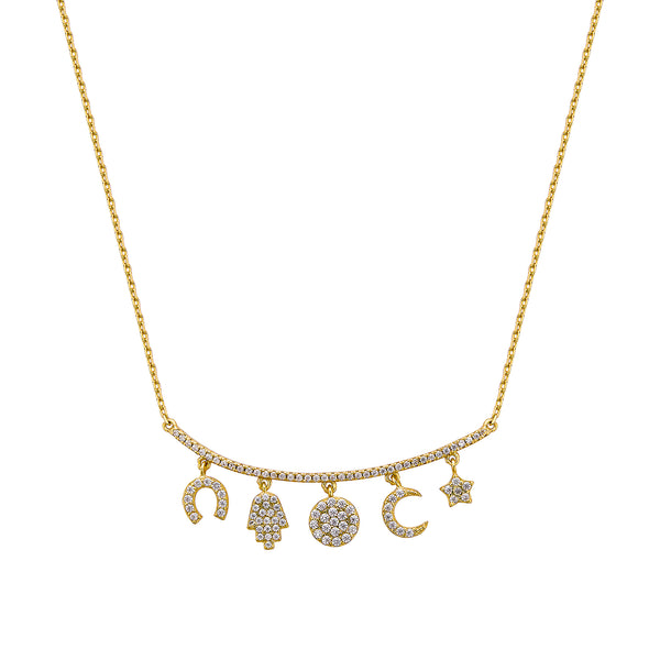 Lucky Glyph Necklace - Gold with White CZ