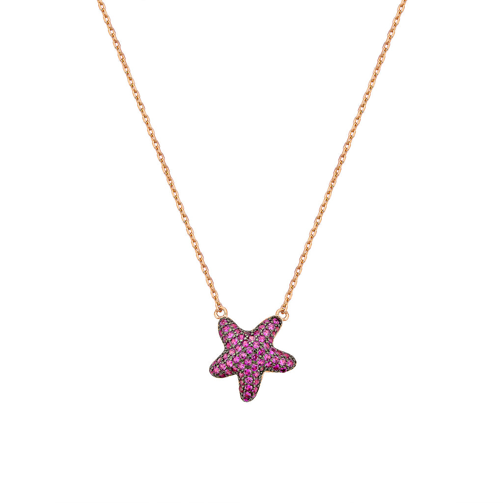 Starfish Necklace - Pinkgold with Pink CZ