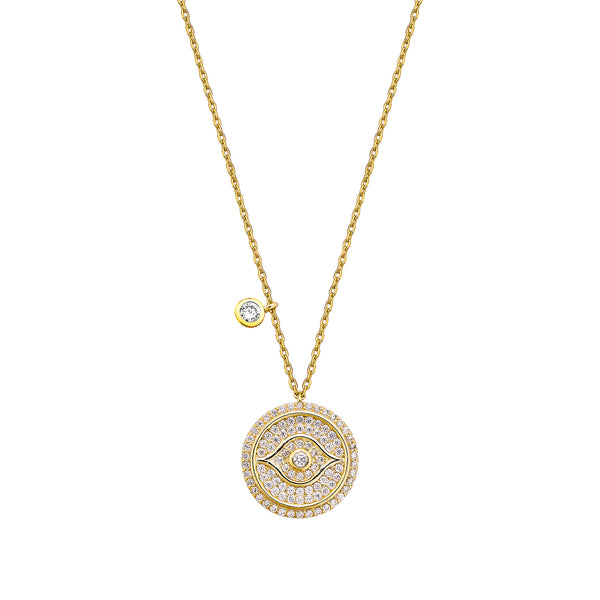 Evil Eye Necklace - Gold with White CZ