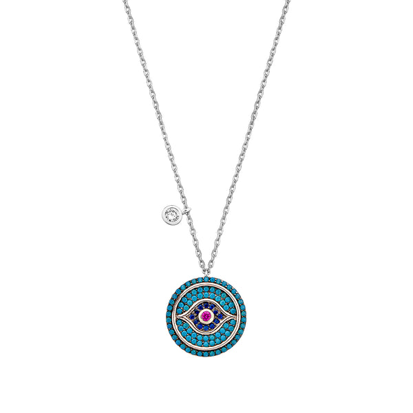 Evil Eye Necklace - Silver with Turquoise, Blue CZ