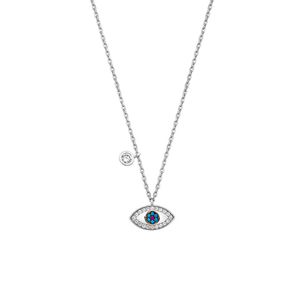 Eye Necklace - Silver with White CZ, Turquoise