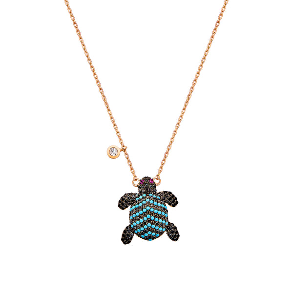 Sea Turtle Necklace - Pinkgold with Black CZ, Turquoise