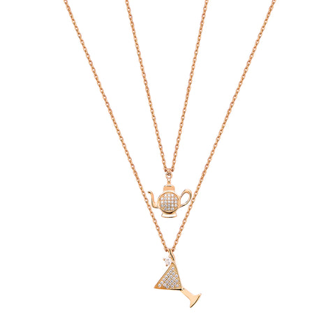 Double Cocktail & Teapot Necklace - Pinkgold with White CZ