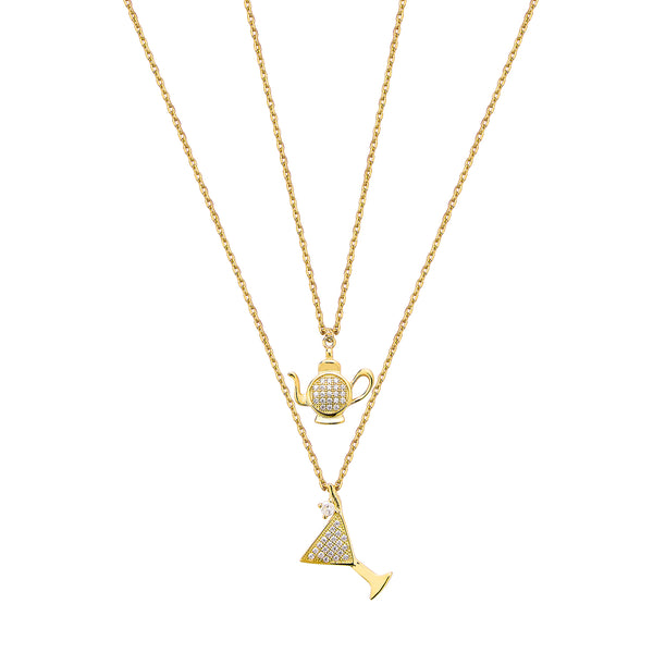 Double Cocktail & Teapot Necklace - Gold with White CZ