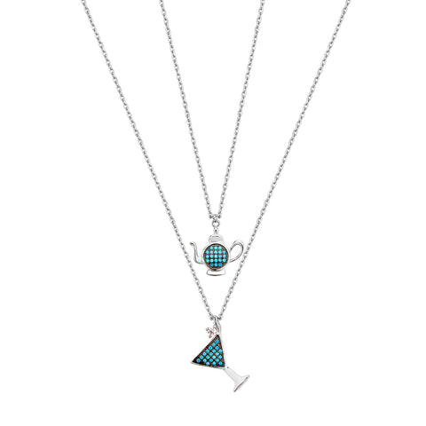 Double Cocktail & Teapot Necklace - Silver with Turquoise