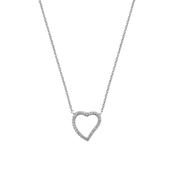 Heart Necklace - Silver with White CZ