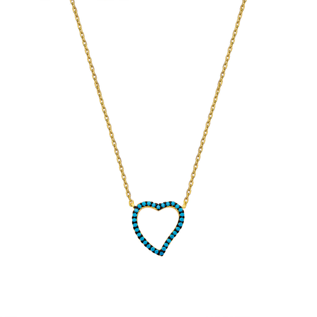 Heart Necklace - Gold with Turquoise