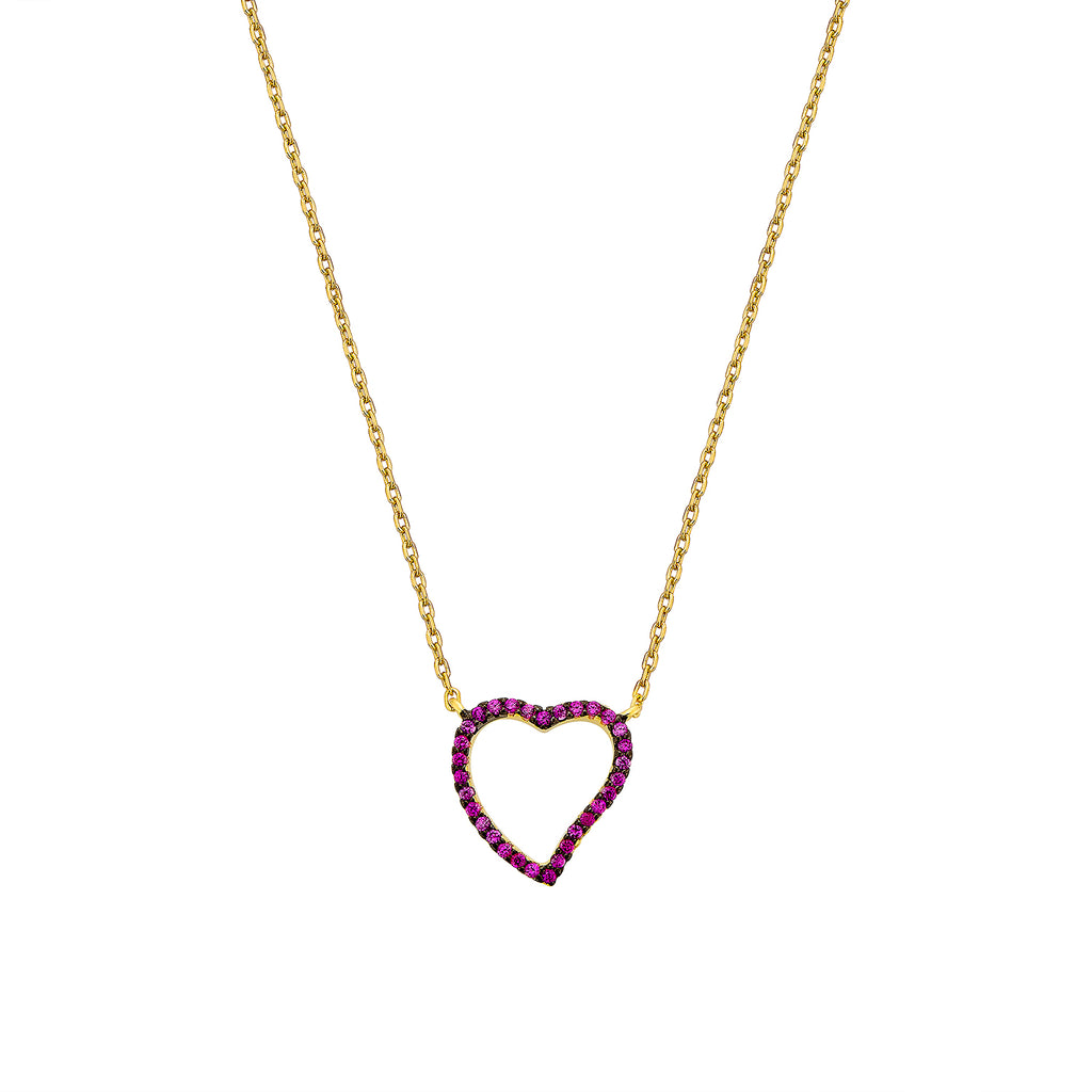 Heart Necklace - Gold with Pink CZ