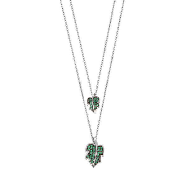 Double Leaf Necklace - Silver with Green CZ