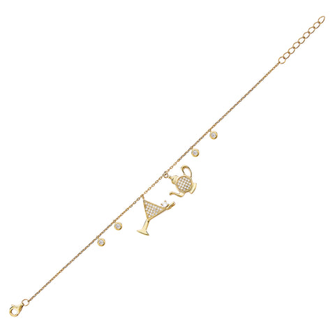 Cocktail & Teapot Bracelet - Gold with White CZ