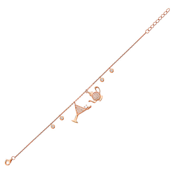 Cocktail & Teapot Bracelet - Pinkgold with White CZ