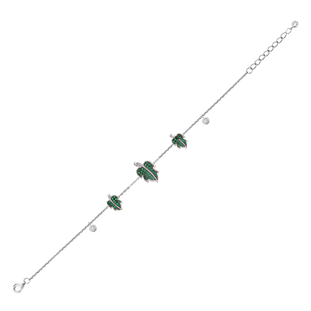 Leaf Bracelet - Silver with Green CZ