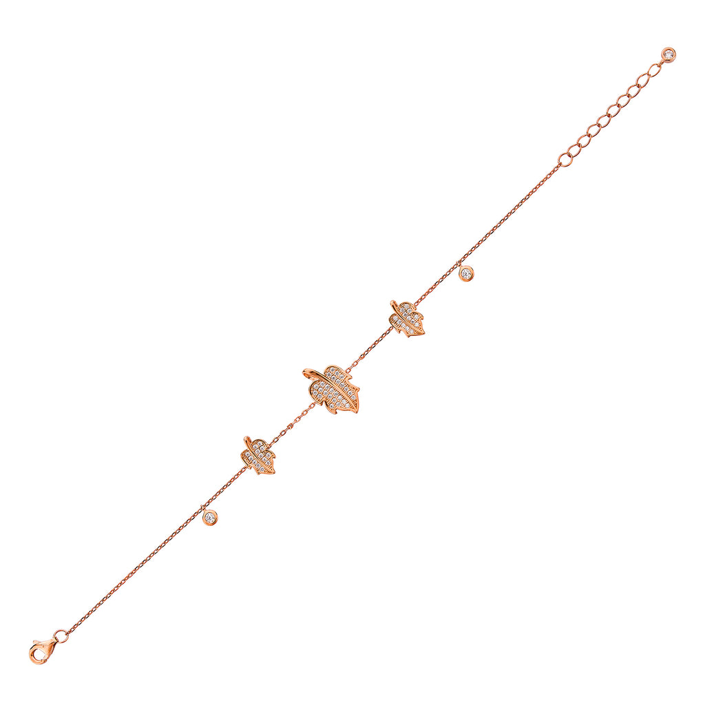 Leaf Bracelet - Pinkgold with White CZ