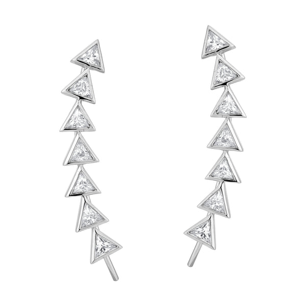 7 Trilliant Diamond Earrings - Silver