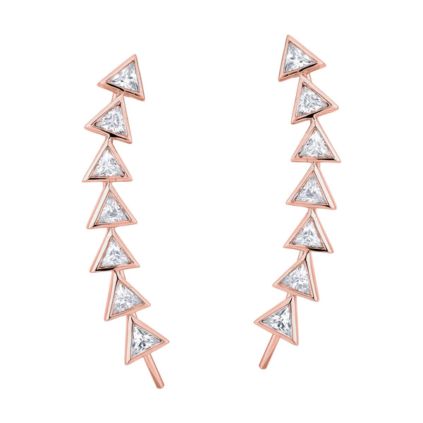 7 Trilliant Diamond Earrings - Pinkgold