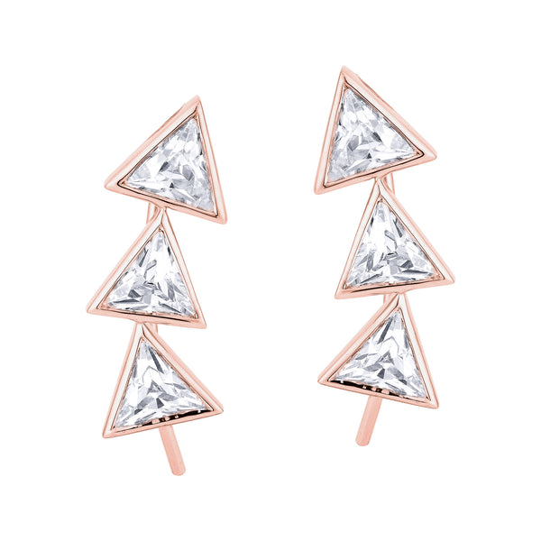 3 Trilliant Diamond Ear cuff - Pinkgold