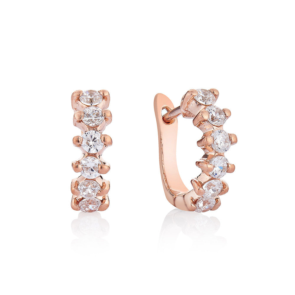 Diamond hoop Earrings - Pinkgold