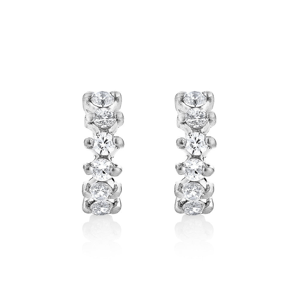 Diamond hoop Earrings - Silver