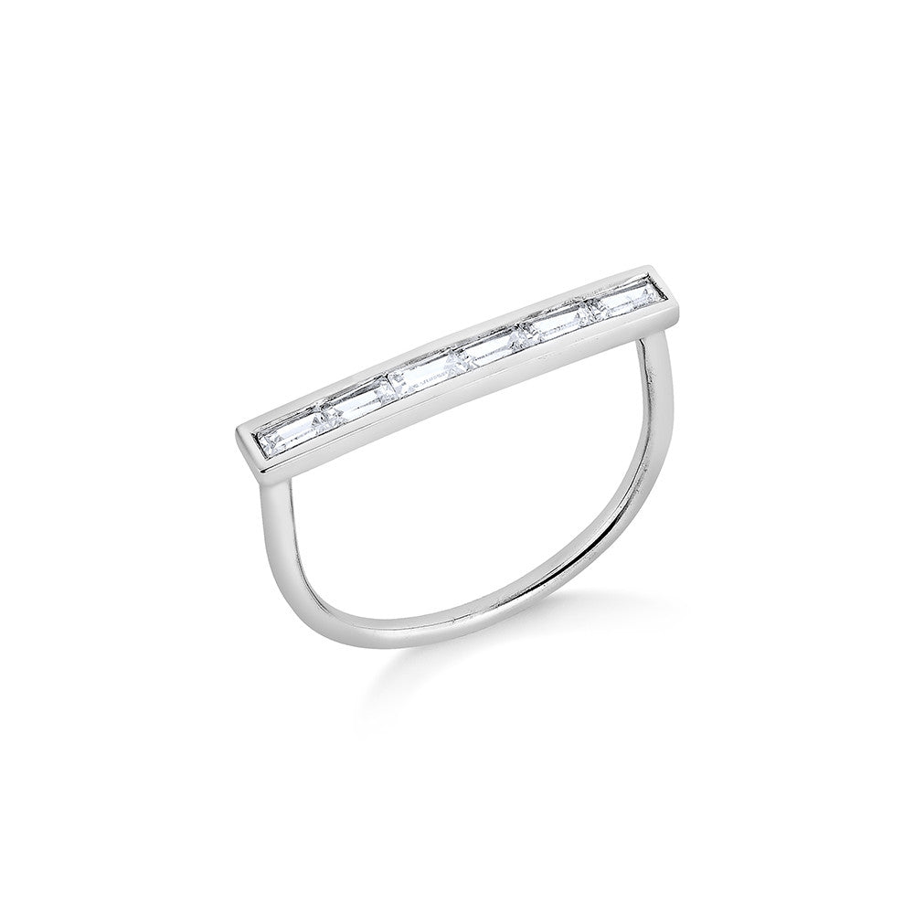 Diamond Lining Ring - Silver