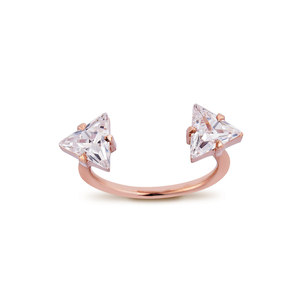 2 Triangle Diamond Ring - Pinkgold