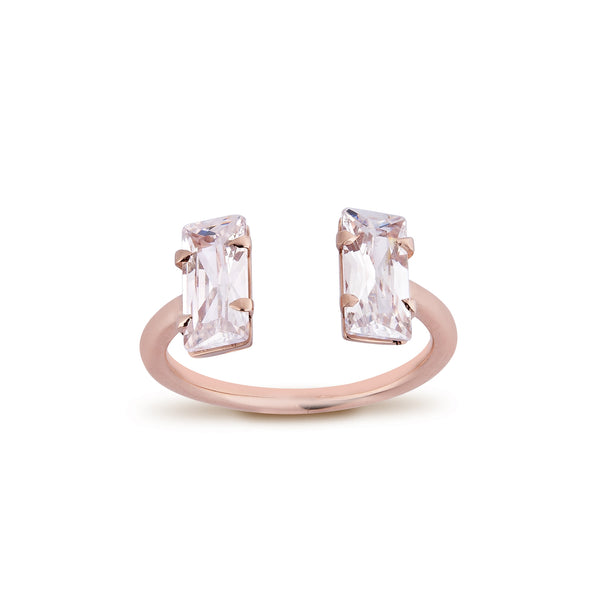 2 Baguettes Diamond Ring - Pinkgold