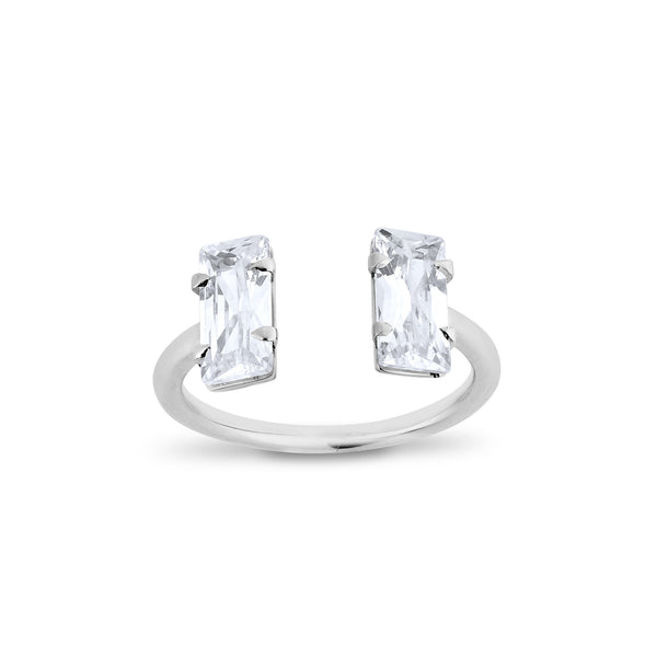 2 Baguettes Diamond Ring - Silver