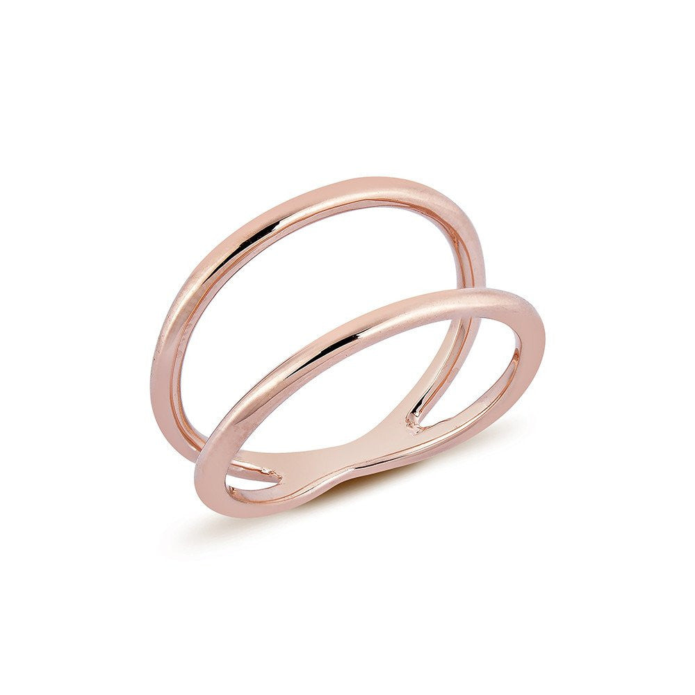 Birdie Pava in Line Ring & Carla Mini Hoop Earrings - Pinkgold