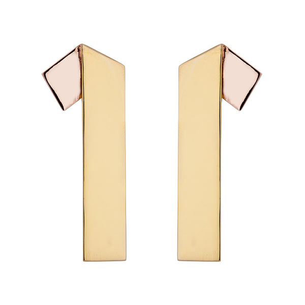 Irada 01 Ribbon Earring - Pinkgold x Gold